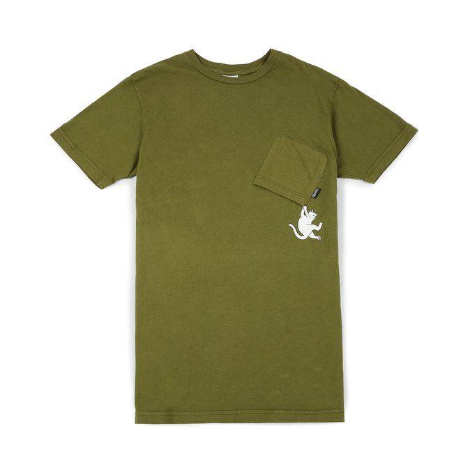 Rip N Dip - Hang In There Pocket T-shirt, Army Green 1