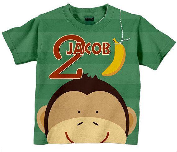 Boys Birthday Shirt Personalized Monkey   G's party shirt