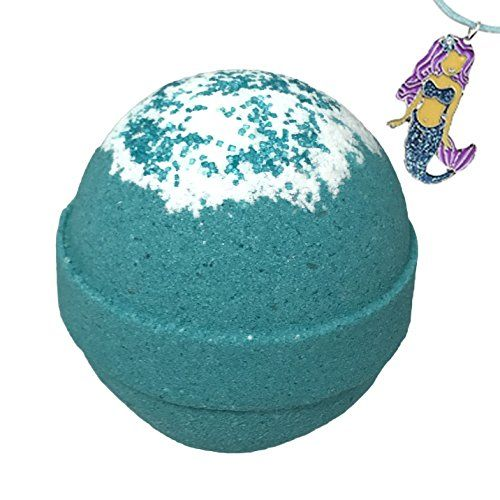 Mermaid BUBBLE Bath Bomb with Surprise Necklace Inside - in Gift Box - Kids Bath Fizzy By Two Sisters Spa - Homemade by Moms in the USA