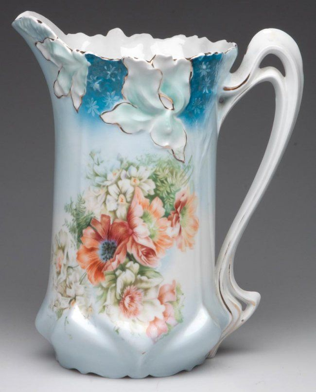 R. S. PRUSSIA FLORAL-DECORATED TANKARD PITCHER