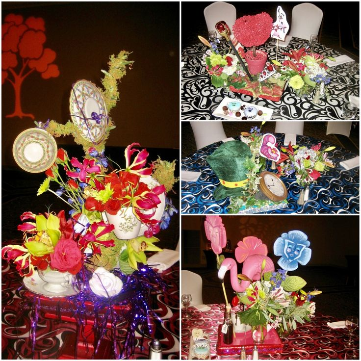 Elements of Alice in Wonderland create festive centerpieces on specialty linens for Lily's favorite theme.