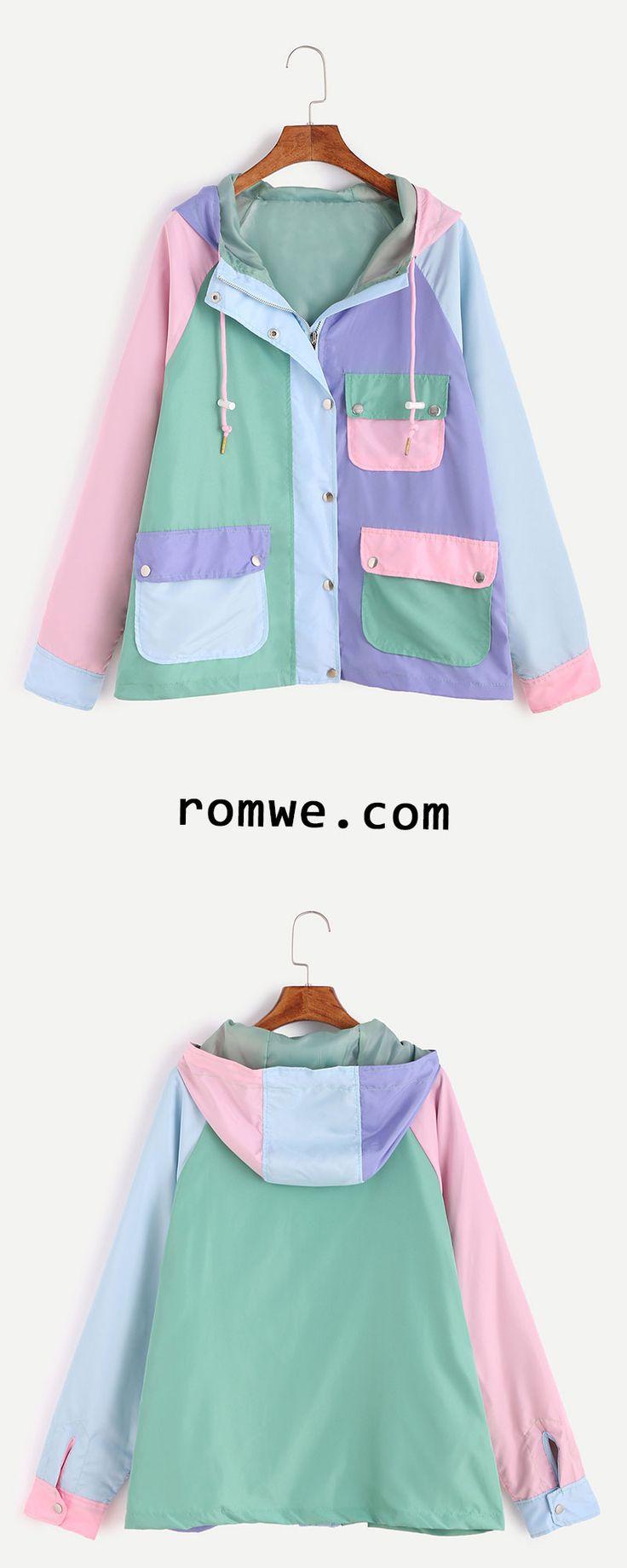 Color Block Raglan Sleeve Pockets Drawstring Hooded Coat