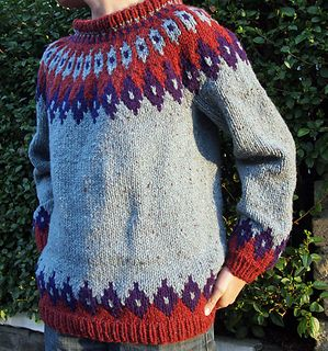 The same colorwork design can be found in a longer cardigan, Astrid.