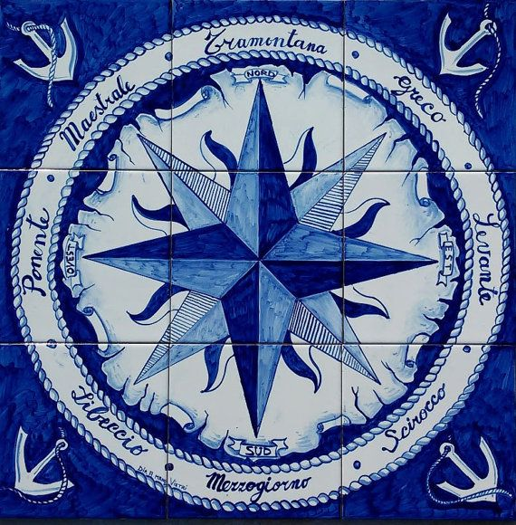 Hand Painted Nautical Home Decor Tile Mural Compass Rose