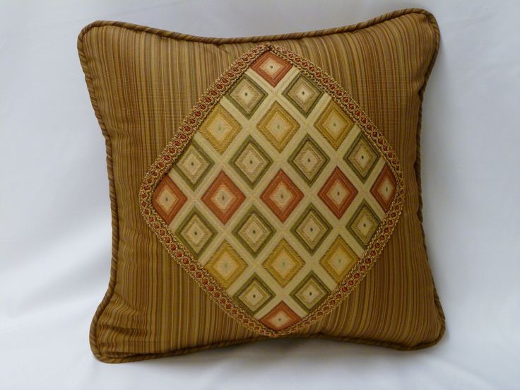 Custom Diamond Appliqued Pillow Cover with Decorative Braid by KHPillowFashions on Etsy https://www.etsy.com/listing/158342830/custom-diamond-appliqued-pillow-cover