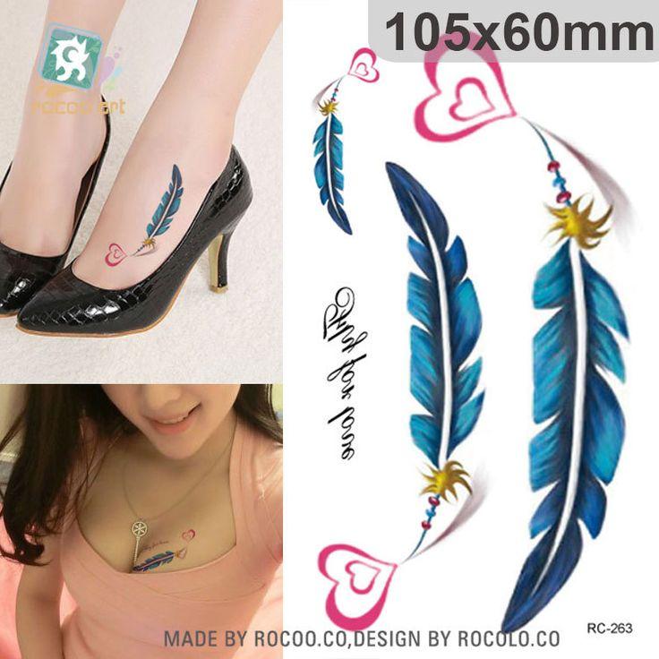 Боди-Арт водонепроницаемый временные татуировки для мужчин и женщин Красивая любовь перо дизайн небольшой стикер татуировки Оптовая RC2263
