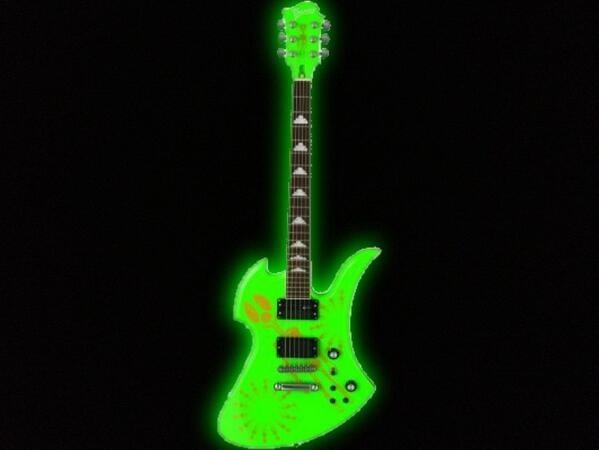 radiating green guitar.