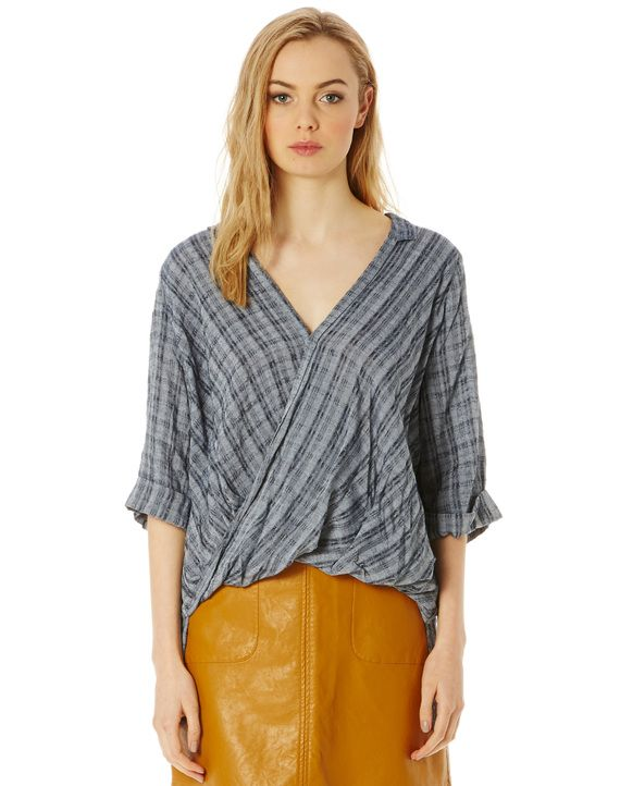 Textured Twist Front Blouse
