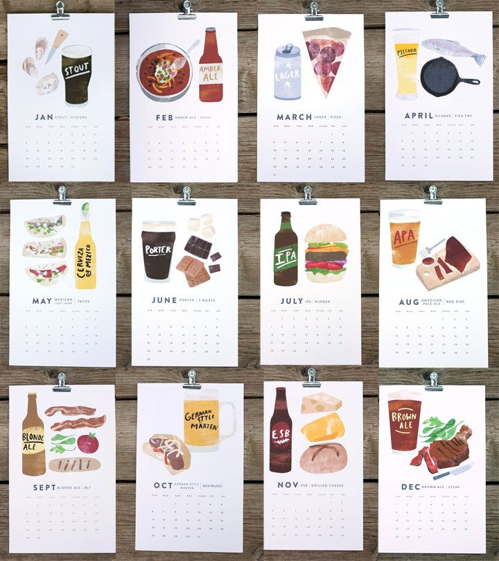 Gift idea for those beer lovers out there. BEER/FOOD 2013 calendar from Etsy.