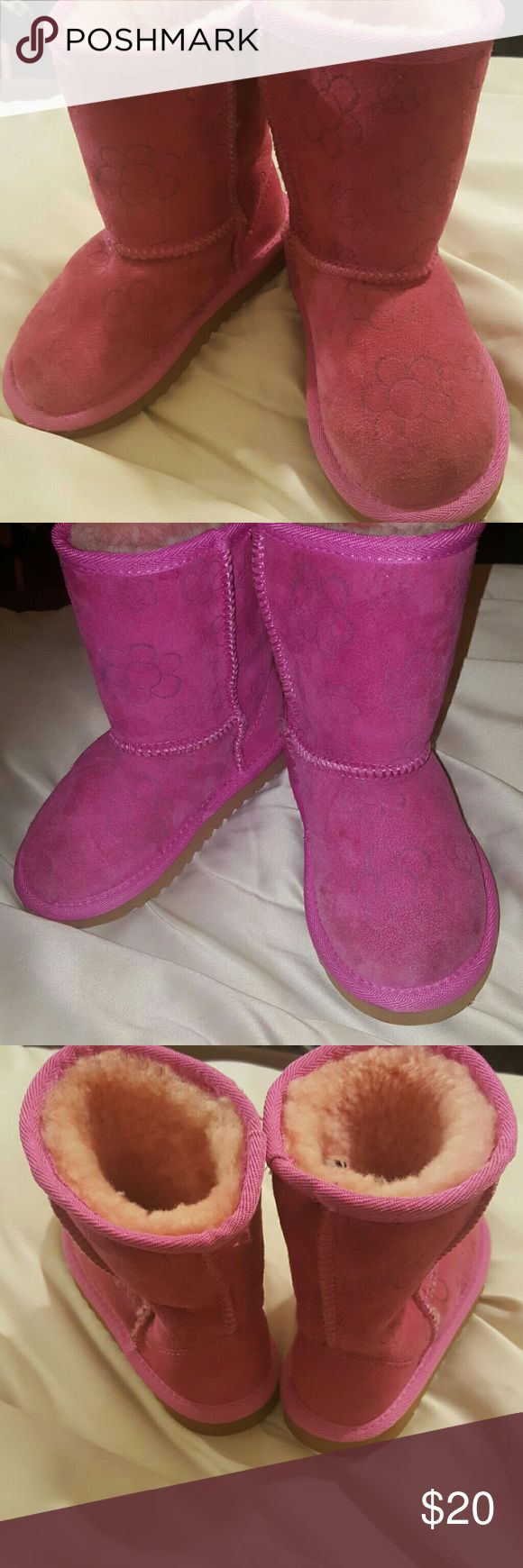 Costco kirkland Pink boots kids size10 Costco kirkland Pink sheepskin boots for kids size 10. My daughter wore and said they were too warm. ???? Costco kirkland  Shoes Ankle Boots & Booties