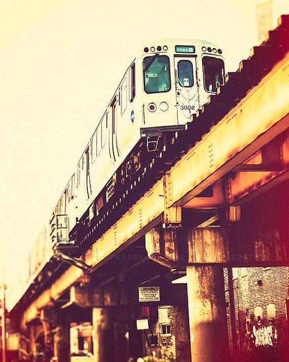 Chicago Art Print - train decor, CTA Blue Line photography - Chicago train photography, urban wall art, yellow, orange, red, teal - Blue on Etsy, $30.00
