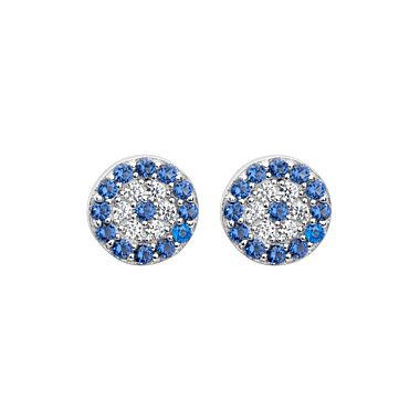 Lucky Evil Eye Earrings Sterling Silver 7mm with 38 paved-set blue and white CZ gemstones .