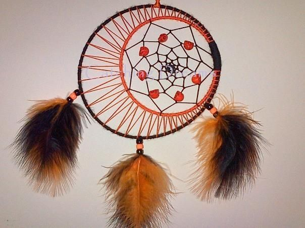 Black and orange double ringed dream catcher with the for How to make a double ring dreamcatcher