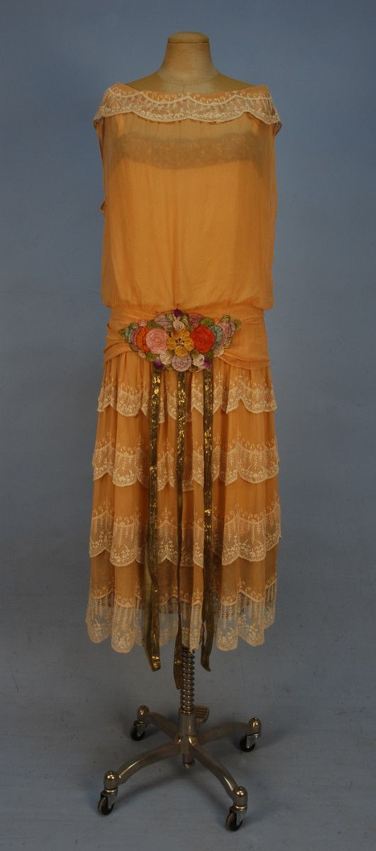 'Chiffon 'robe de style' with metallic gold trim', 1920's | SmugMug