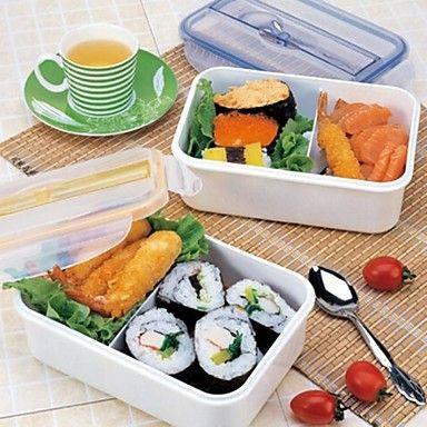 deux treillis boîte à lunch en plastique, plastique 22,2 × 15,2 × 6,9 cm (8,8 × 6,0 × 2,8 pouces) couleur aléatoire - EUR € 9.99