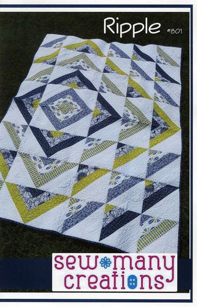 "Looking for the Ripple Quilt Kit instead? Ripple is created using a simple method to achieve half square triangle strips. The off centered design gives it a ""ripple"" water effect. You will need: - (6)"