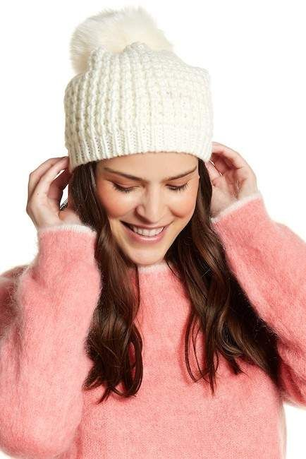 c744bdb7779ad Kyi Kyi Faux Fur Pompom Wool Blend Classic Beanie... hats
