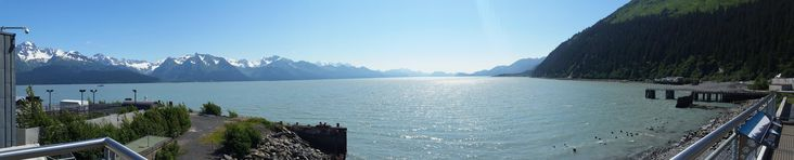The view of the from the observation deck of the Alaska Sealife Center in Seward Alaska last summer. [6149x1243][OC]