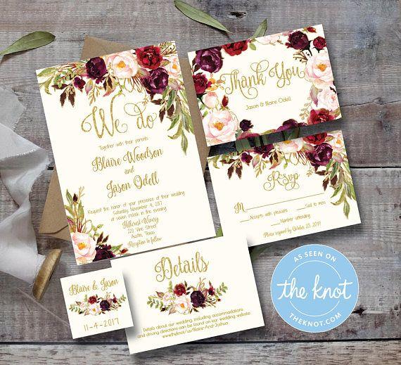 Wedding Invitation Template Printable / Editable / Marsala