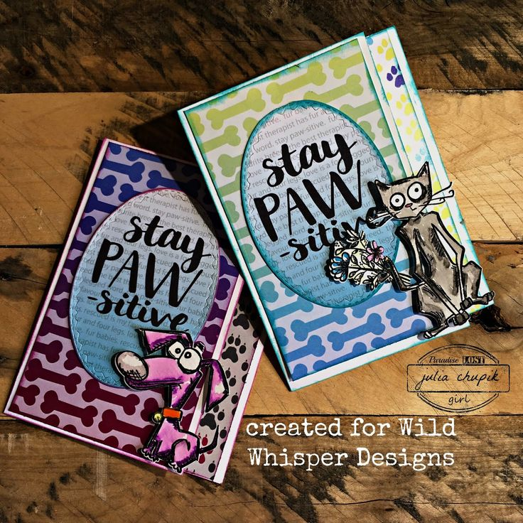 Stay Paw-sitive  Wild Whisper Designs Fur Babies Collection #WildWhisper #TimHoltz #FurBabies #CrazyDogs #CrazyCats #Sizzix #StampersAnonymous #card