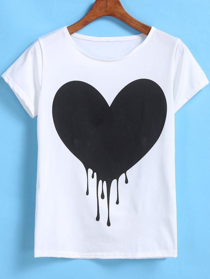 White Short Sleeve Heart Print T-Shirt-SheIn