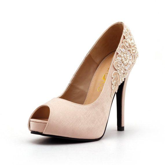 nude peep toe wedding heel with lace beadwork nude bridal heel nude satin wedding heel nude wedding shoes
