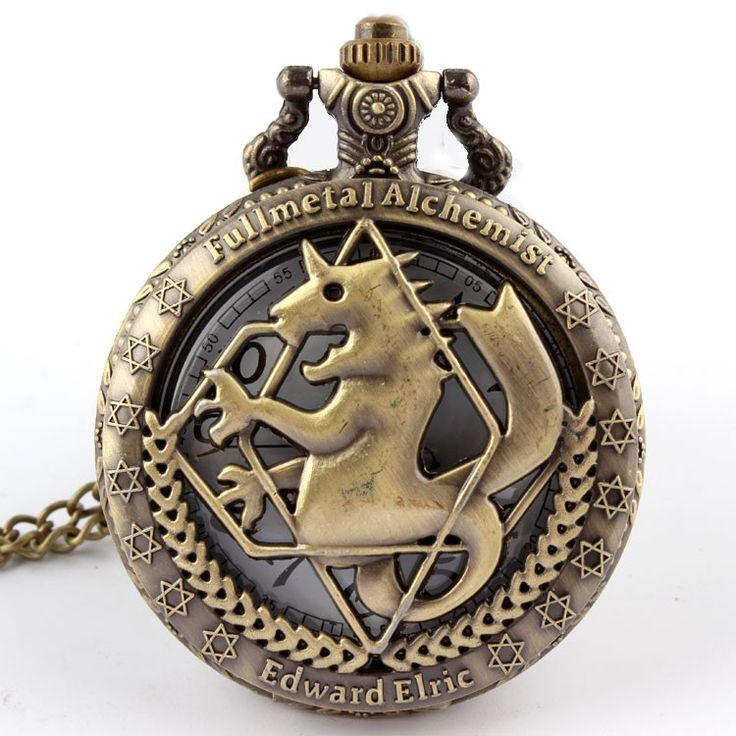 High Quality Full Metal Alchemist Edward Elric Cosplay Pocket watch Dull Polish Brown Hollow Men's Quartz Pocket Watch P268