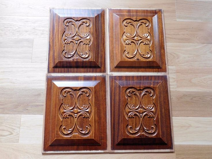 4 plaques facades en bois massif sculpte 30 5cmx37 5cm f437 renovation deco diy ornements. Black Bedroom Furniture Sets. Home Design Ideas