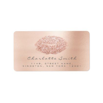 Rose Gold Confetti Makeup Lashes RSVP Lips Label - blush pink gifts unique special diy custom