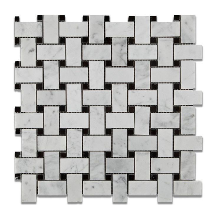 Carrara White Marble Honed Basketweave Mosaic Tile W
