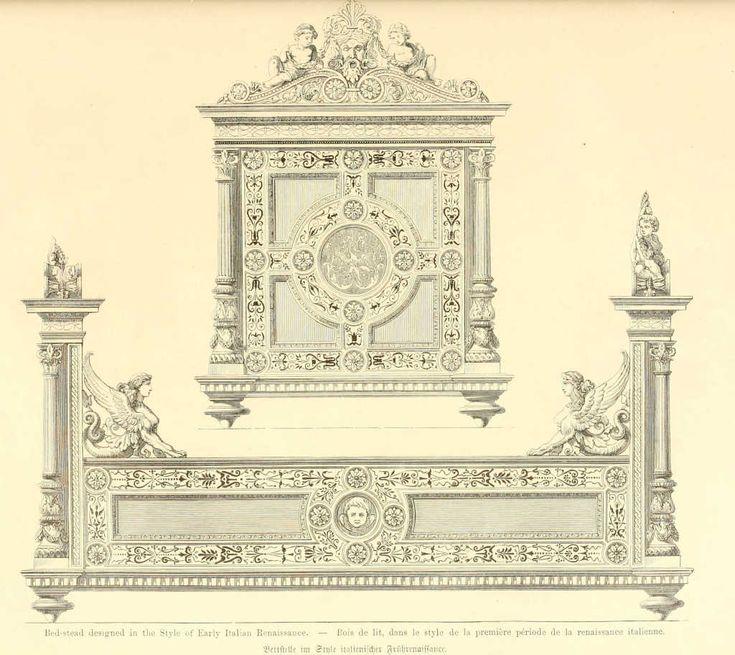 img/чертежи мебель, мебель/деревянная кровать в стиле ренессанс italienne.jpg