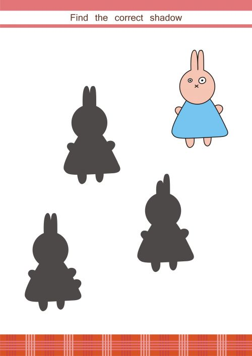 This cute, free printable asks students to match the picture of a bunny with its shadow. Get your student working on their logic skills, and have them explain their answer!   #braingames, #logic, #games, #printable
