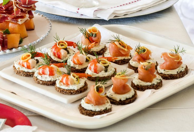 Smoked salmon and prawn bites - perfect for your Christmas party this holiday season!