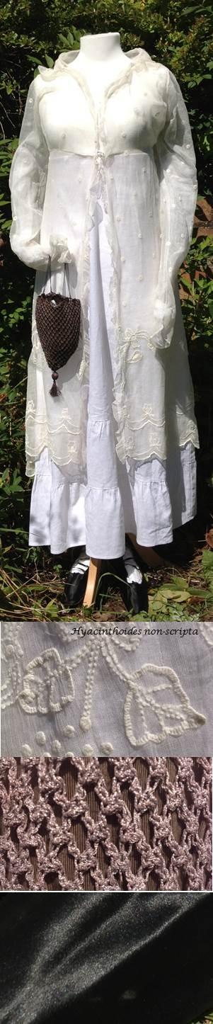 c1810 embroidered 3/4 length pelisse, c1810 black metallic reticule, c1820 black silk shoes.