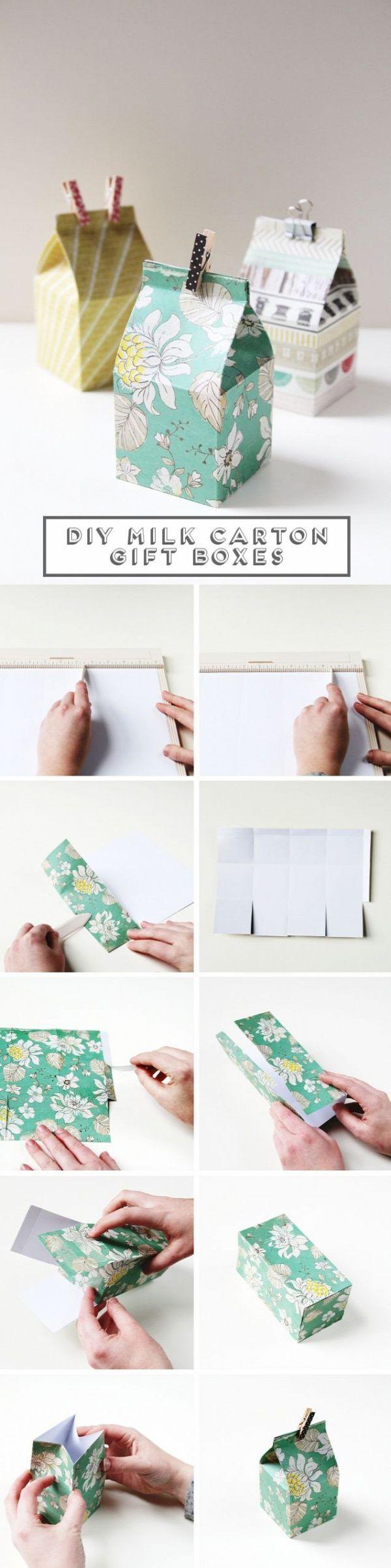 DIY que el mini del cartón de leche cajas de regalo