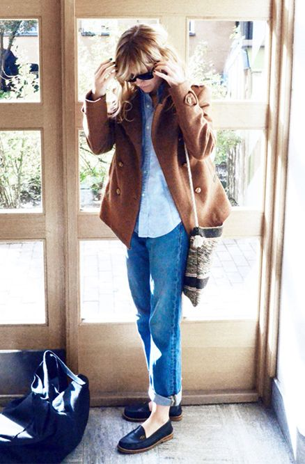 camel pea coat; cuffed jeans; black loafers; simple; casual