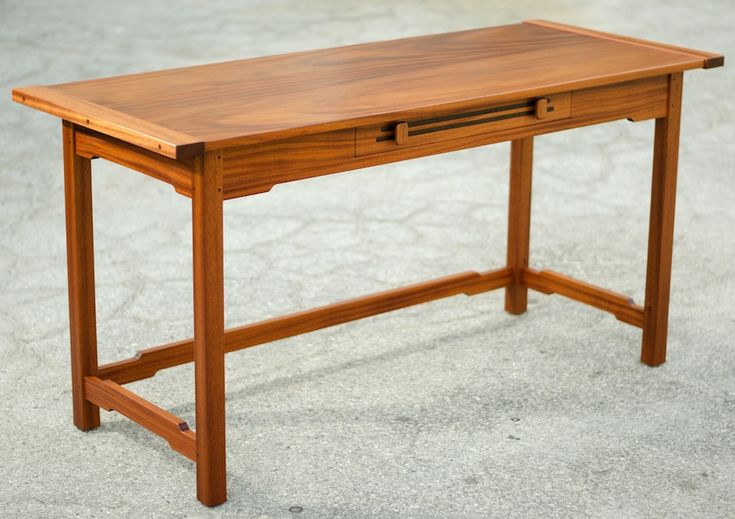 Hand made, custom Writing Table designed and built by Josh from Offerman Woodshop. Crafted Mahogany with wenge inlay, pinned Mortise and Tenon. Made in USA.