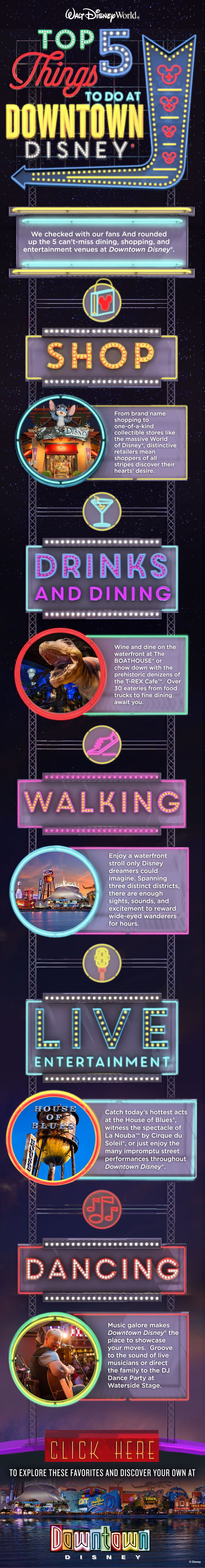 From shopping at World of Disney to dancing and live music at House of Blues and everything in between, check out the top 5 things to do at Downtown Disney as chosen by our Walt Disney World fans!
