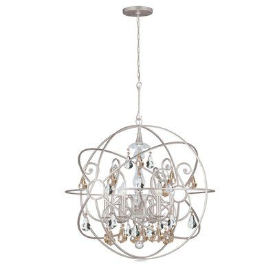 House of Hampton Hester 6 Light Crystal Chandelier Crystal Color: Golden Shade Hand Cut, Finish: Olde Silver