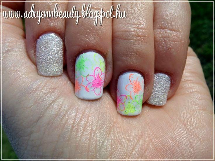 Adryenn Beauty: Körömnyomdázott neon virágok