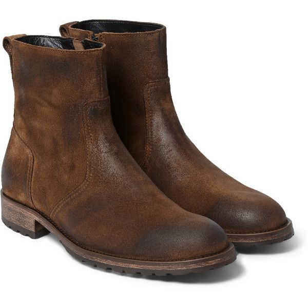 Belstaff Attwell Burnished-Suede Boots ($650) ❤ liked on Polyvore featuring men's fashion, men's shoes, men's boots, men, brown, mens zip boots, mens shoes, mens zipper boots, mens brown suede shoes and mens zipper shoes