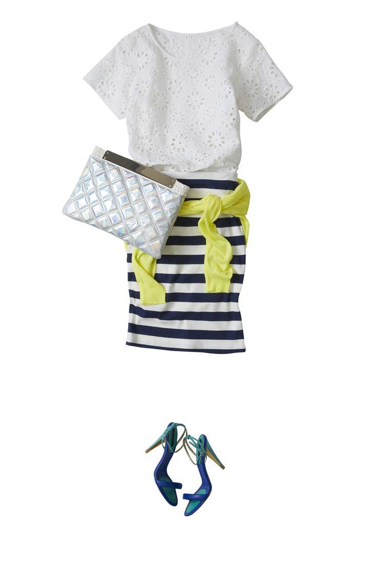 鉄板ボーダー柄スカートを、大人に着回す夏スタイル ― B