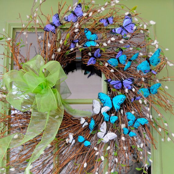 Ombre Butterfly Spring Wreath, Summer Wreath, Mother's Day Wreath! on Etsy, $85.00