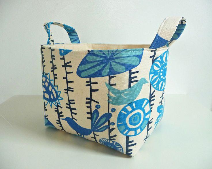 Large Storage Basket Fabric Organizer - Home Organizing - Premier Prints Menagerie Arctic Blue/Natural - Choose Size by littlehenstudio on Etsy https://www.etsy.com/listing/188273522/large-storage-basket-fabric-organizer