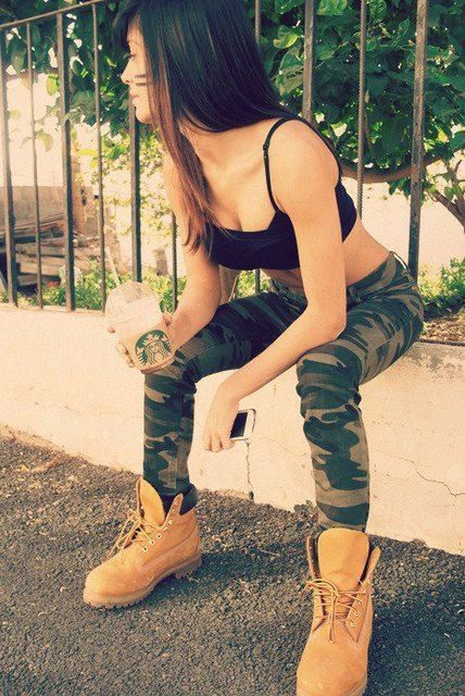 Timbs, camo pants, style, outfit, simple