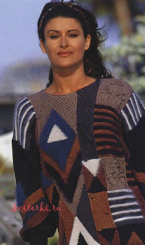Разноцветный вязаный пуловер пэчворк