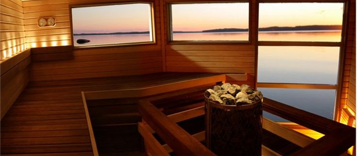 Finnish sauna with a lake view