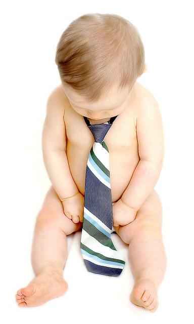 With one of Daddy's ties. Cute!