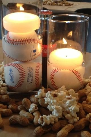 baseball themed wedding centerpiece