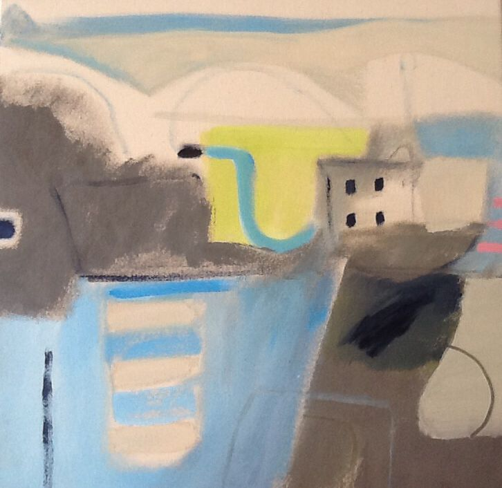 Nathan Davies - SeaSide II,,,, semi abstract - Colour, form, memories £250....................................................The Webb street company,  2 Webb St, PL23 IAP, 01276 833838,  Hello@thewebbstreetcompany.co.uk